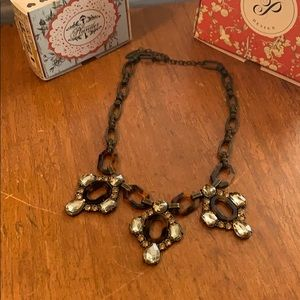 Plunder tortoise necklace with accents of crystals